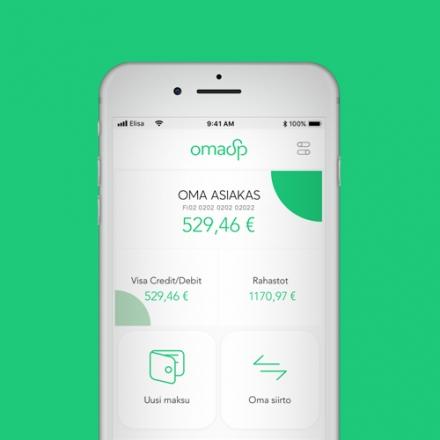 Kuvassa OmaMobiili -sovellus avattuna älypuhelimessa.